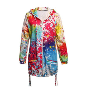 Coats And Jackets Women Harajuku Tie Dye Zipper Pockets Long Coat Clothesliilgal-liilgal