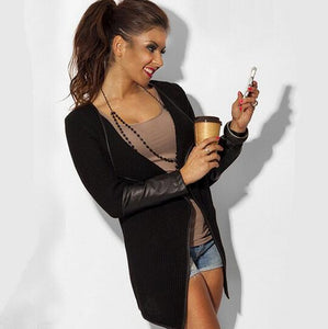 Popular Leather fashion style black and white New cardigan jackets solid colorliilgal-liilgal