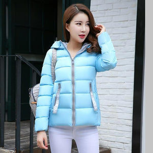 2018 Womens Parkas Jacket Winter Casual Warm Thicken Hooded Jackets Solidliilgal-liilgal