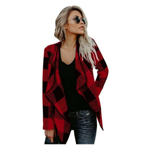 Winter Cardigan Woolen Blend Coat Women Plaid Coat Long Sleeve Female Overcoatliilgal-liilgal