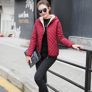 Autumn 2018 New Parkas basic jackets Female Women Winter plus velvet lambliilgal-liilgal