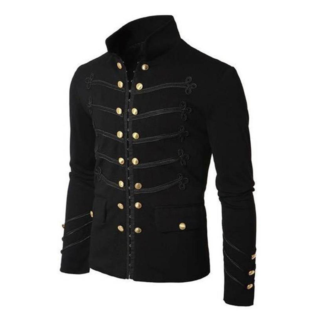 Men Vintage Military Jacket Gothic Military Parade Jacket Embroidered Buttons Solid Colorliilgal-liilgal