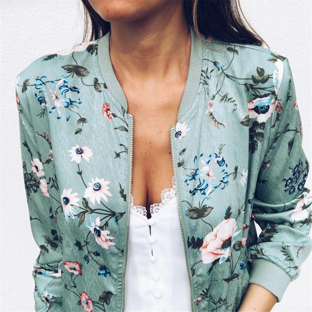 Women's Vintage Flower Floral Print Jacket Zipper Stand Collar Slimming Coat Casualliilgal-liilgal