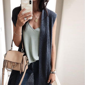 Women's Vest 2018 Autumn Sleeveless Jackets Female Knee Length Gilets Femme Cardiganliilgal-liilgal
