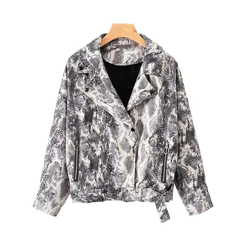 Women Animal Print Snakeskin Biker Jacket Motorcycle Oversize Crop Coat Autumn Winterliilgal-liilgal