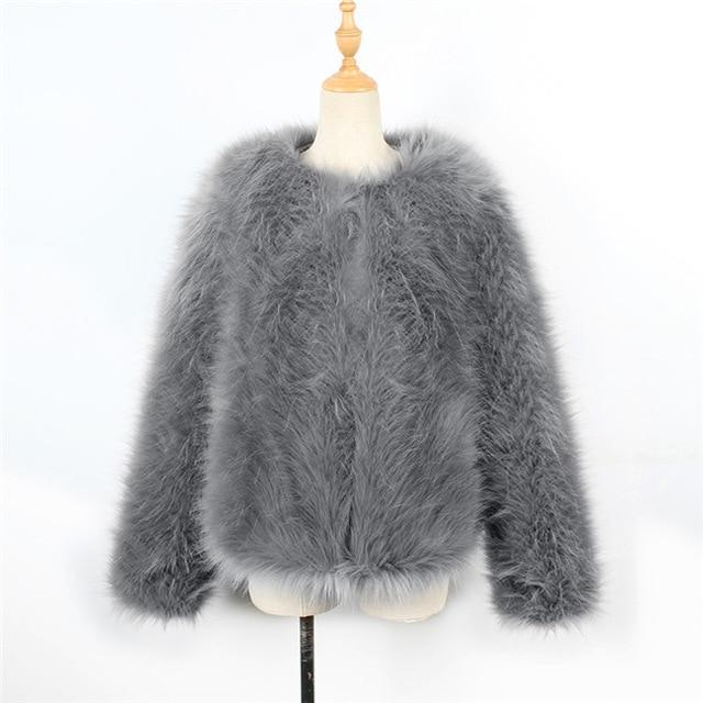 2018 Fluffy Faux Fur Coat Women Winter Thick Warm Fur Jacket Outwearliilgal-liilgal