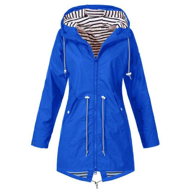 Woemns Solid Rain Jacket Outdoor Jackets Waterproof Hooded Raincoat Windproof Casual fashionliilgal-liilgal
