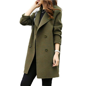 Female Double-breasted Overcoat Long Sleeve Turn-down Collar Solid Color Coat Outwear Koreanliilgal-liilgal