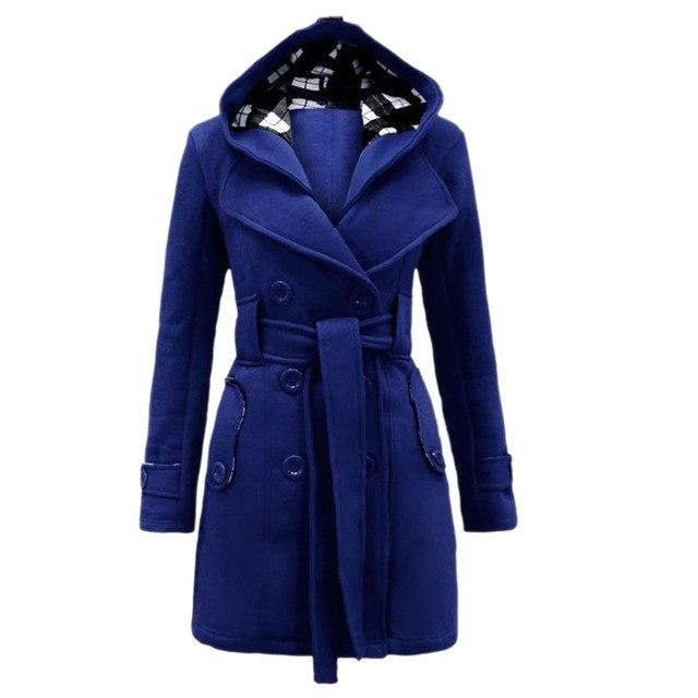 2017 Fashion Women's Military Button Hooded Fleece Belted Jacket 7 Colors Sizeliilgal-liilgal