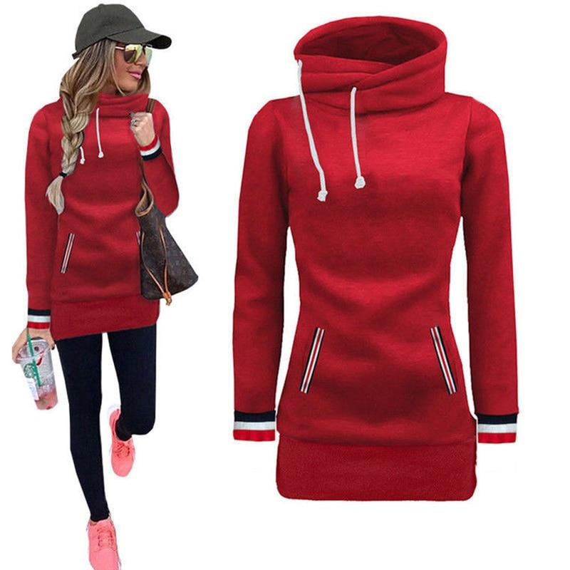 Winter Autumn 2018 Women Hoodies Dress Turtleneck Pullovers Loose Casual Long Sweatshirtliilgal-liilgal