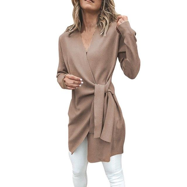 Winter Women clothing Casual Leather Tied Up V Neck Open Front Suitliilgal-liilgal
