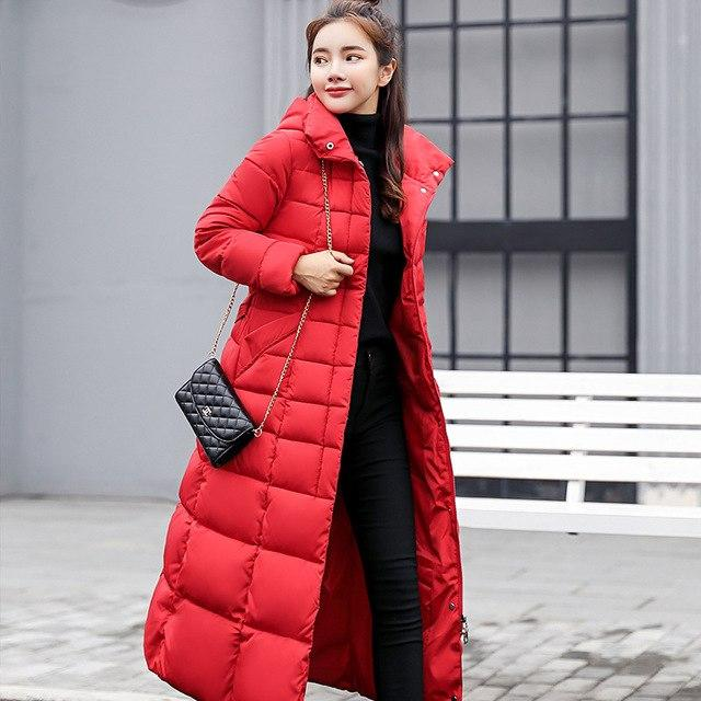 M-3XL Autumn Winter Women Thicken Cotton Down Jacket Hoodie Long Parkas Furliilgal-liilgal