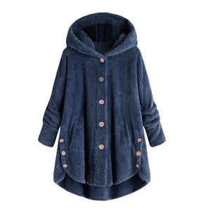 Fashion Women Button Coat Fluffy Tail Tops Hooded Pullover Loose Sweater Casualliilgal-liilgal