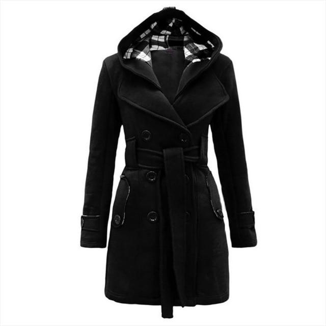 Winter Coat Women Wool Blends Coats Female Hooded Double Breasted Lace Upliilgal-liilgal
