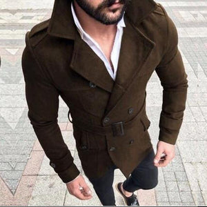 Retro Woolen Jacket Men Wool Warm Trench Coat Jackets Double Breastedliilgal-liilgal