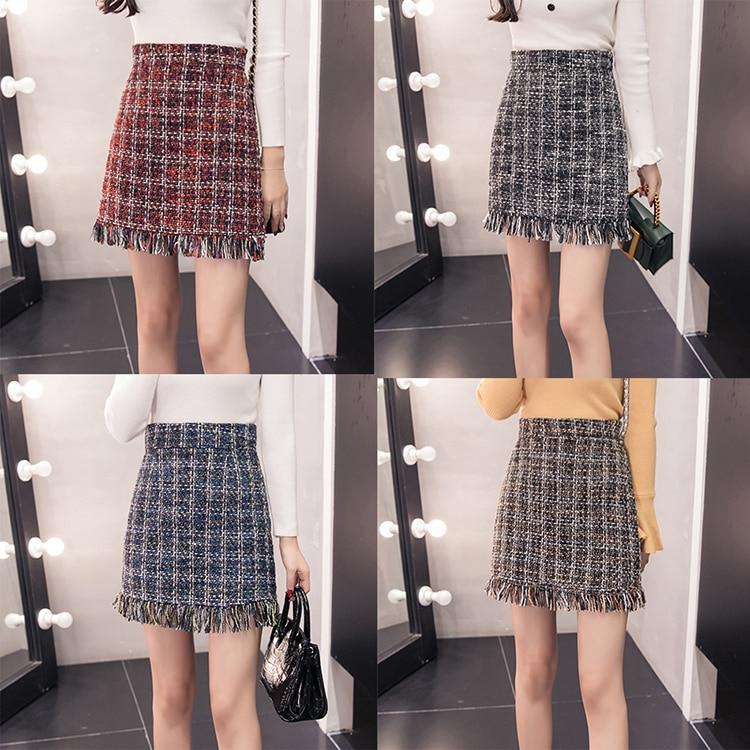 high quality tweed skirt women plaid slim tassel autumn winter highliilgal-liilgal