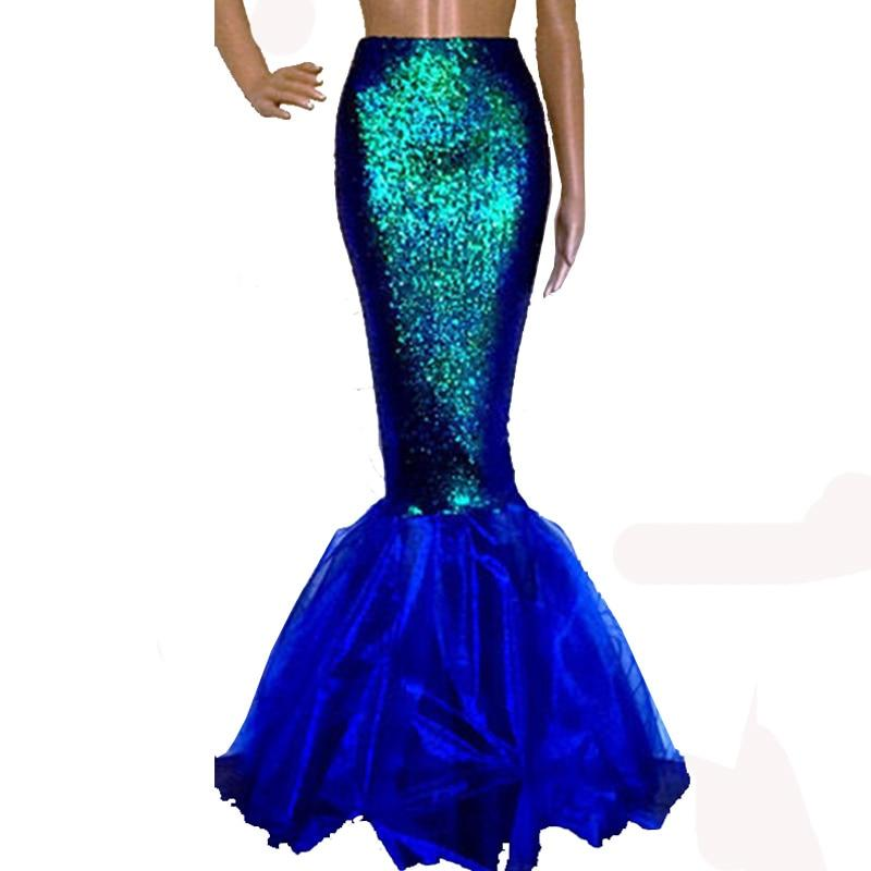 Women's Long Mermaid Maxi Skirt High Waisted Stretch Bodycon Shiny Fish Scaleliilgal-liilgal