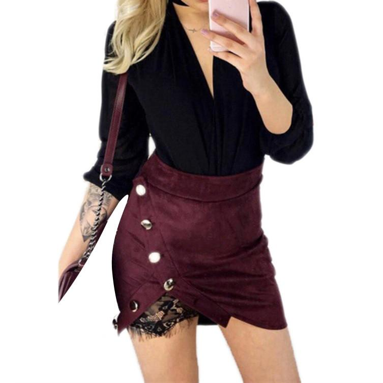 Women Ladies High Waist Pencil Skirts Button Lace Patchwork Sexy Bodycon Suedeliilgal-liilgal