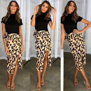New Fashion Women Sexy England Leopard Printed Empire Split Bandage Eveningliilgal-liilgal