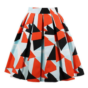 Fashion Pop Geometry Print Women Vintage Skirts High Waist A Lineliilgal-liilgal