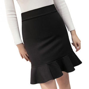 New Women Office Ladies Fashion Sexy Fishtail Skirt Package-hip Mini Ruffle Peplumliilgal-liilgal