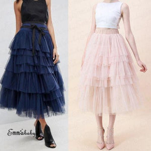 New Arrival High Waist Tulle Skirt Women Tiered Ruffle Long Maxi Partyliilgal-liilgal