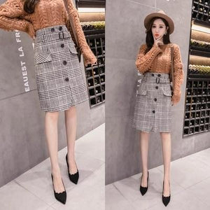 2018 new woolen plaid skirt women autumn winter sashes buttons pocket midiliilgal-liilgal