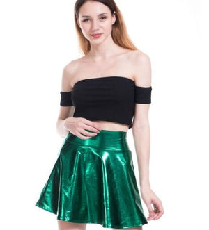 Faux Leather Skirt Candy Color Pleated Sexy PU Skirt Women Eleganliilgal-liilgal