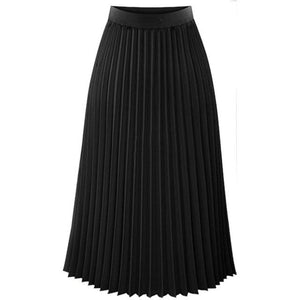 Faldas Skirts Womens Solid Pleated High Waist Skirts Autumn Casual Midi Elasticliilgal-liilgal