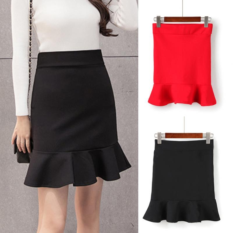 Women's Skirts Fashion Sexy Package Hip Skirts High Waist Ruffle Mermaid Skirtliilgal-liilgal