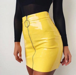 2019 New Women PU Leather Mini Skirt High Waist Plain Flared Skirtliilgal-liilgal