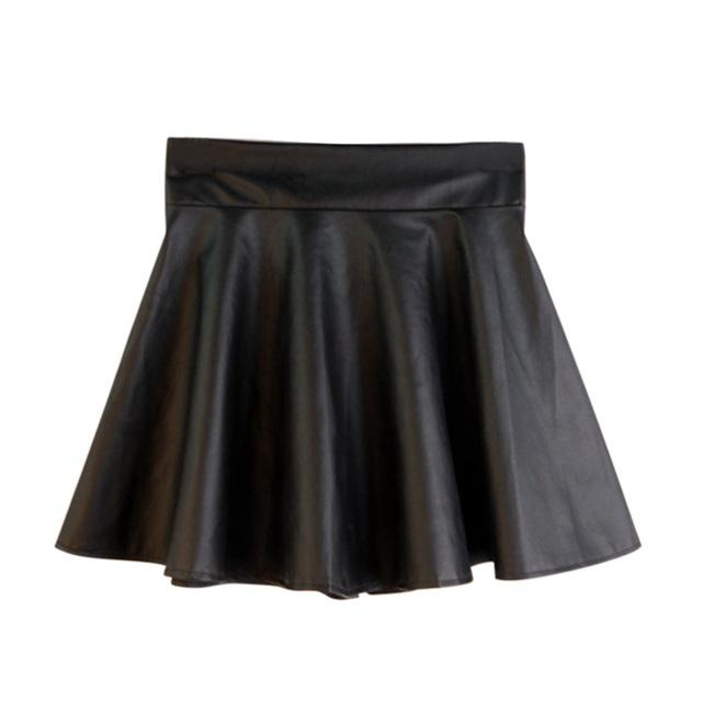 Women Sexy High Waist PU leather Skirt Autumn Stretchy Pleated Short Skirtliilgal-liilgal