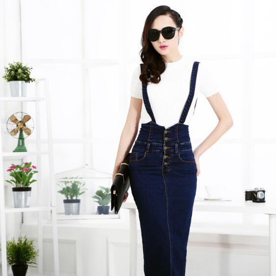 Plus Size Women Clothing Denim Suspender Skirt Long 2018 Hot Sale Koreanliilgal-liilgal