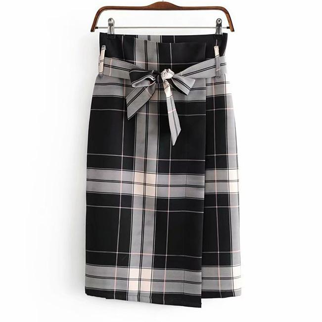 Hem Asymmetrical Belt Plaid Women Skirt With Sashes Plus Size Female Vintageliilgal-liilgal