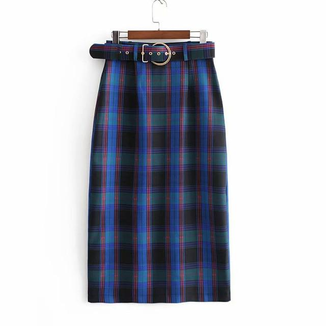 Women Plaid Skirt With Sashes Plus Size Female Straight Skirts Jupe Femmeliilgal-liilgal