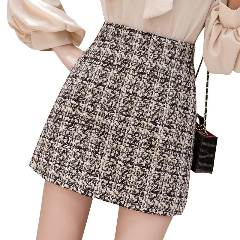 Black tweed skirt 2018 autumn winter women korean elegant plaid jupe femmeliilgal-liilgal