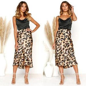 Women High Waist Long Pencil Skirt Slim Bodycon Midi Skirt Leopard Printliilgal-liilgal