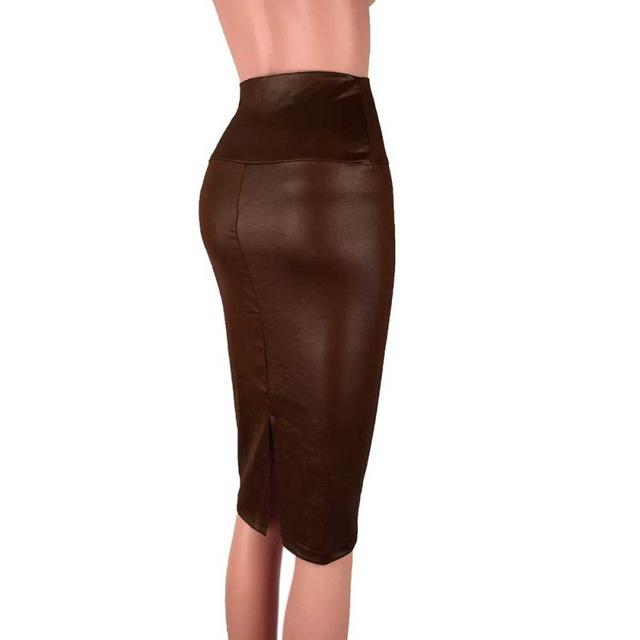 Women Faux Leather Skirt High Waist Package Hip Knee Length Split Skirtliilgal-liilgal