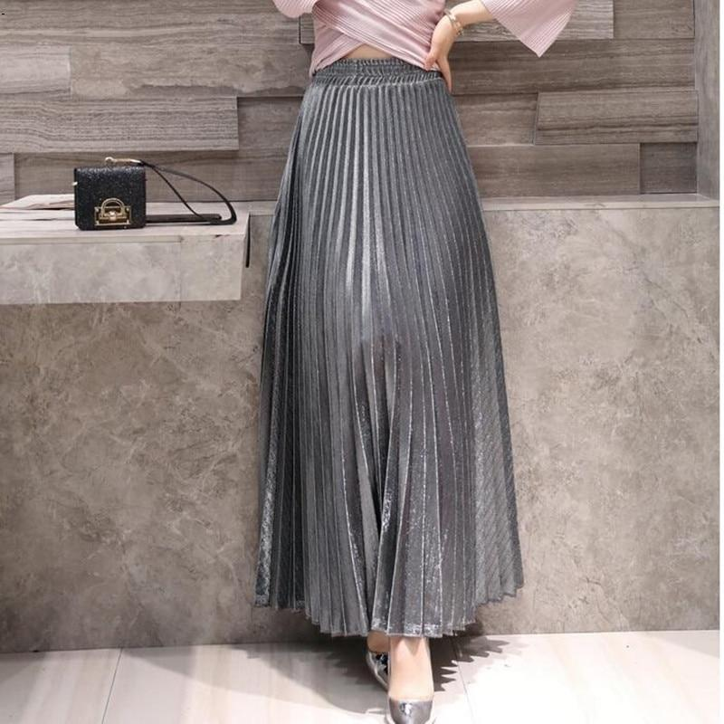 skirts women girl 2018 Spring New Products Pleated Pleated A-line Skirt Largeliilgal-liilgal