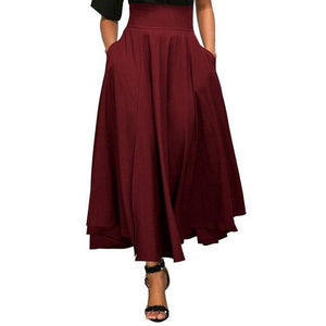2018 Autumn Long Skirt With Pocket High Quality Cotton Solid Ankle-Length Vintageliilgal-liilgal