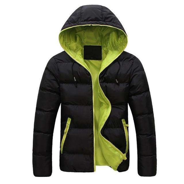 Men's Winter Warm Hooded Outwear Slim Casual Coat Cotton-padded Jacket Parka Overcoatliilgal-liilgal