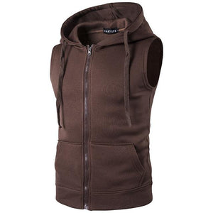Hooded Vest 2018 New Spring Men's Hooded Zipper With Pocket Male Sweatliilgal-liilgal