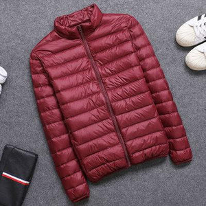 Casual men's down jacket Autumn Winter mens thin light Standing collar&hooded Whiteliilgal-liilgal