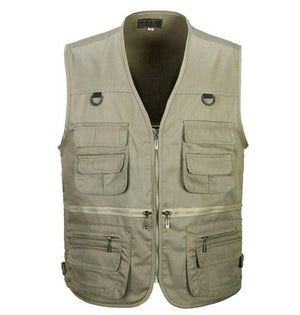 2019 Spring and Autumn Men Vest Army Green waistcoat casual Multi-pocket travelliilgal-liilgal