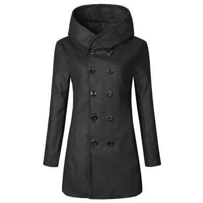 2018 Spring and Autumn fashion new men's casual hooded double-breasted trench jacketliilgal-liilgal