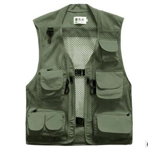Men casual tactical mesh multi pockets cameras vest mens fashion gilet hommeliilgal-liilgal