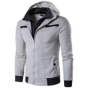 Winter Warm Men Zipper Pockets Solid Hooded Jacket Coat Zip up Men'sliilgal-liilgal