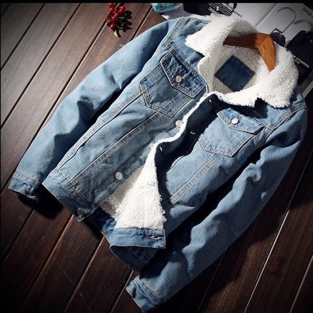 Mens Hiphop Warm Fleece Thick Denim Jackets Male Spring Winter Jeanliilgal-liilgal