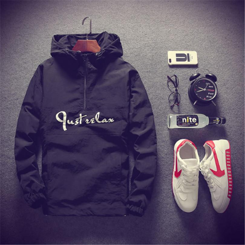 Fashion Thin Jacket men Windbreaker jacket mens Hooded Letters Printed Plus Sizeliilgal-liilgal