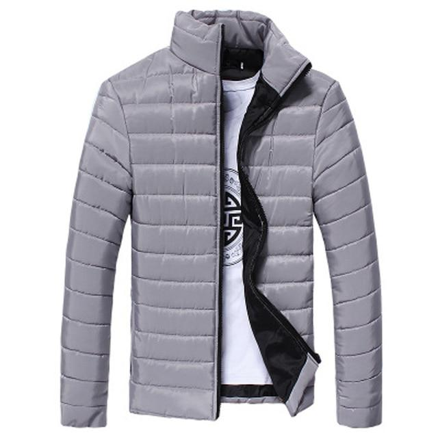 Jacket Men Boys winter Warm Stand Collar solid Slim Winter Zip Coatliilgal-liilgal